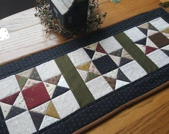 Quilted Table Runner Primitive Table Runner Quilted Star Table Runner Scrappy Table Runner Handmade