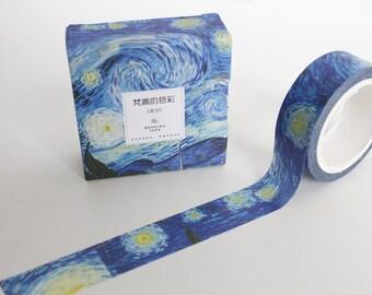 Van Gogh Washi tape, Blue Starry night  Deco Planner tape