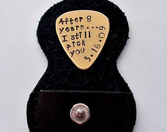 Bronze 8th Anniversary Gift - Hand Stamped Guitar Pick, Traditional 8 Year Anniversary Gift, Personalized Guitar Pick Leather Case Keychain