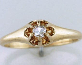 Vintage Antique Diamond 14K Yellow Gold Victorian Engagement Ring