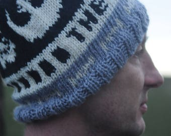 Charity: The Last Jedi Hand Knit Hat, Green, White, and Black