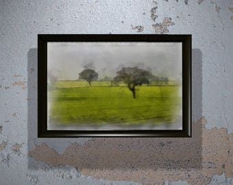 Beautiful English Farm Landscape in Watercolor (Instant Download) - Printable