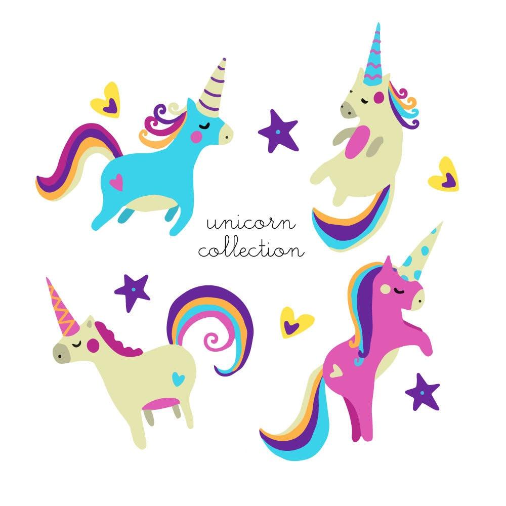 Unicorn clipart cute rainbow princess whimsical illustration