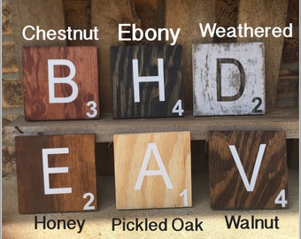 Large Scrabble Wall Tiles-Wood wall decor-Farmhouse Tiles-Scrabble Tiles-Wooden Wall Decor| Wood Decor-Rustic-Aged-Family Tiles-Fathers Day