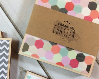 Honeycomb Decor, Honeycomb Coasters, Chevron Decor, Chevron Coasters, Pink Decor, Pink Coasters, Grey Coasters, Grey Decor, Gray Decor