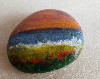Miniature Sea Scape on Beach Pebble