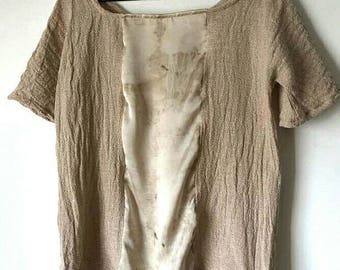 On Sale. Eco-printed, Raw Cotton, Organic, Bohemian, Short sleeve, Rustic Top, Natural dye