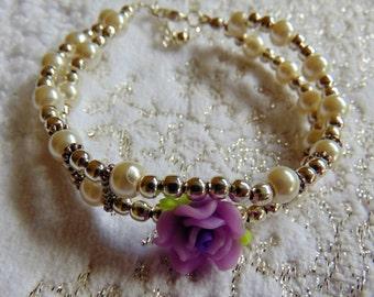 SALE - Romantic Rose and Bead Bracelet
