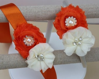 Orange dress sash, orange flower girl sash, orange ribbon sash, orange wedding sash, orange flower sash, orange and ivory dress sash girls