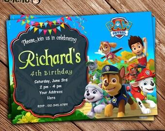 SALE 50% OFF Paw Patrol Birthday Party Invitation - Paw Patrol Theme - Invitation for Girls and Boys - Paw Patrol Celebration - Printable