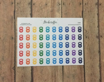Kettlebell Workout Stickers Rainbow - S306