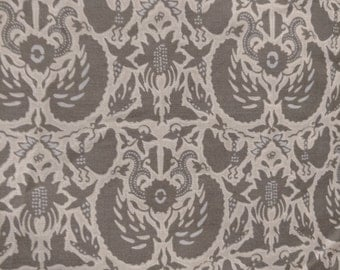 "100% Cotton Fabric, Damask, dark Silver - By The Yard , 54 "" wide"