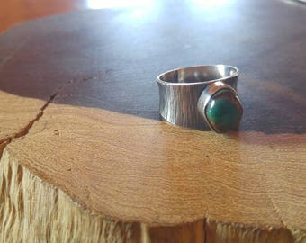 Rustic statement kingaman turquoise sterling silver patina ring, size 8, handmade, quality made, durable, super comfortable