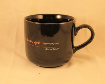 "Benson and Hedges Coffee Cup Mug Mark Twain Quote ""Never put off until tomorrow what you can do the day after tomorrow."" Gift"