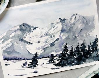 Watercolor landscape\Smoky mountains\watercolor mountains\abstract landscape\mountains painting\Winter landscape\snow painting