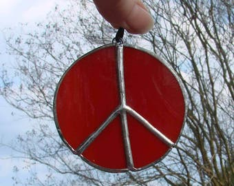 Red Peace Sign Handmade Stained Glass Ornament or Sun Catcher