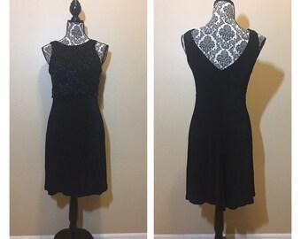 Vintage 90s Black Lace Dress   Vintage Black Lace LBD