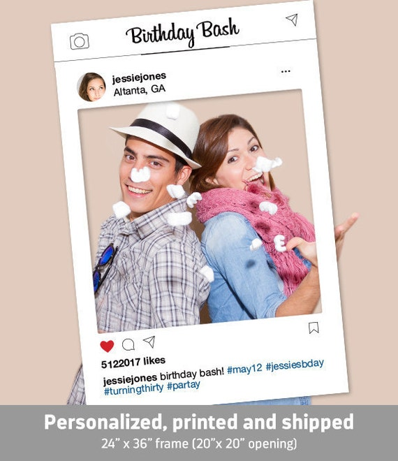 instagram frame photo booth prop hashtag sign