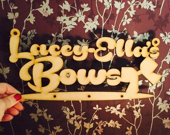Personalised Bows Haner, lasercut MDF undecorated, crafts