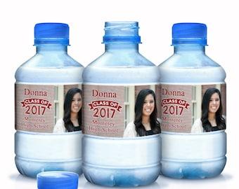 2017 Graduation Water Bottle Labels - Graduate Bottled Water Labels - Custom Water Bottle Labels - 30 Photo Graduate Water Bottle Labels