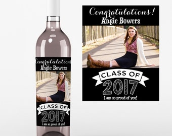 4 Photo Graduation Wine Labels • Personalized Graduation Wine Label - Add Your Picture - Class of 2017 Wine Labels - Custom Color