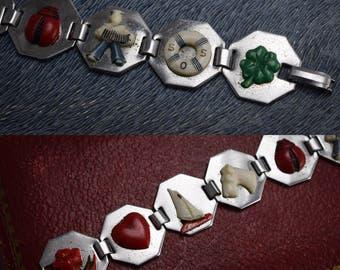 Vintage 1920s Art Deco Painted Celluloid Charm Bracelet in Chrome