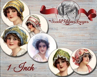 Vintage Victorian Ladies with Hats bottle cap images of 1 inch -Set of 15- gift tags, pendants, cupcake toppers, charms, digital sheet