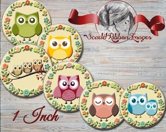 Cute Owls with floral wreath border 1 inch Bottle Cap images  - 600dpi  printable digital collage sheet, stickers,  magnets