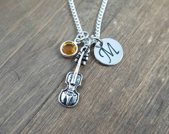 Personalized Violin Necklace - Hand stamped Monogram Violin Necklace - Initial, Birthstone Necklace - Orchestra Member Necklace