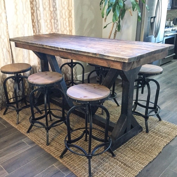 Rustic Pub Table by SweetNettaJean on Etsy