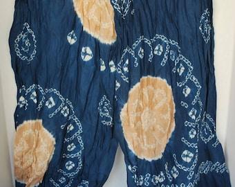 Sunburst Pattern – Blue & Beige Shibori – Vintage Japanese Silk Obi Scarf