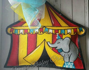 Circus tent hand painted burlap door hanger Childrens room decoration or teacher classroom door decor & Circus door hanger | Etsy