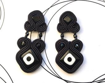 Black stud earrings, black soutache, long earrings, black jewelry, retro earrings, black and white earrings, embroidered earrings