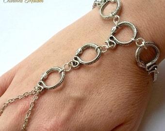 Snake Slave Bracelet, Hand Chain, Snake Bracelet, Pagan Hand Bracelet, Goth, Gothic Slave Bracelet, Hand Flower, Hand Harness, Bracelet Ring