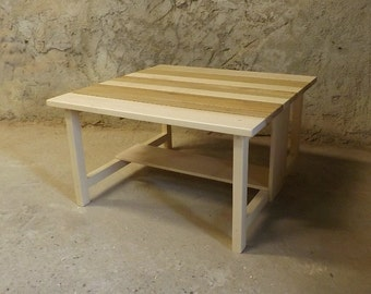 Coffee table square wood Maple oak and beech