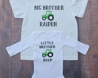 Tractor Shirt,  Big Brother Little Brother,  Brother Shirt, Tractor Sibling