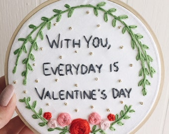Valentine's Day Embroidery Hoop
