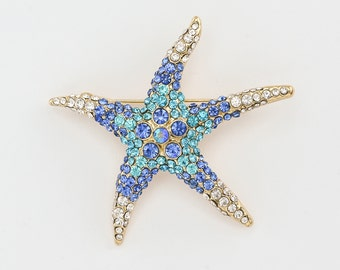 Blue Starfish Brooch, Rhinestone Starfish, Crystal Multi Blue Starfish, Beach Wedding Starfish, Bridal Jewelry, Sash Pin, Starfish Brooch.
