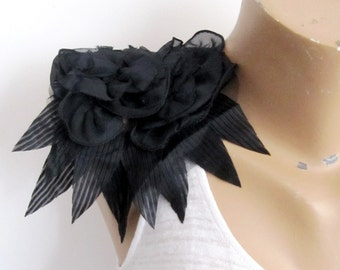 Black Chiffon Epaulet/ Black Shoulder Pads/Black flower Patch/Black Flower Epaulet