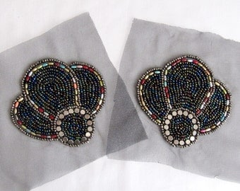 Tulip Epaulet Beaded Epaulet 2PCS.Epaulet Shoulder Epaulet Sewing Appiques Sew on Patch  Blue Melange Patch