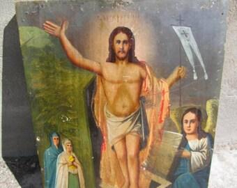 """Antique 19c Russian Orthodox Hand Painted Wood Icon""""Resurrection"""". Antique 19c Icône orthodoxe russe peinte à la main en bois """"Résurrection"""""""