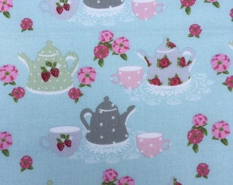 """Lecien """"Cottage Blue Tea for Two"""" fabric"""