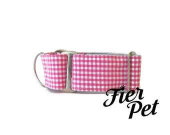 martingale collar, dog martinguale collar, pink gingham,fier-pet  ,whippet collar, greyhound collar