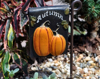 Welcome Fall Sign with Post for Miniature Garden, Fairy Garden