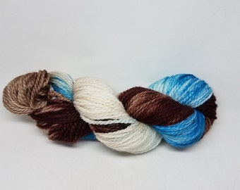 Superwash BFL Aran Weight Hand-dyed Yarn - Sea foam and Driftwood