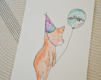 Original illustration in watercolor, Party bear, 5 1/2 by 8  1/2