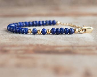 Lapis Lazuli Bracelet in Silver or Gold, Lapis Jewelry, Royal Blue Jewellery, Dainty Stacking Gemstone Bracelet, September Birthstone