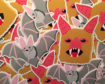 Bats! duo stickers - Pack of 2 creepy, colourful bats.