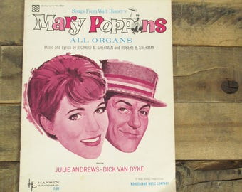 Disney's 'Mary Poppins' Songbook / Sheet Music for Organs.  1964 / Vintage Mary Poppins Song Book. Includes 13 songs!