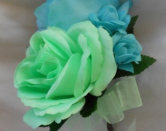 Corsages ser of 6 roses and Mint and agua blue